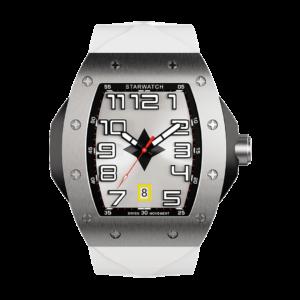 Montre tonneau en acier avec bracelet de montre blanc