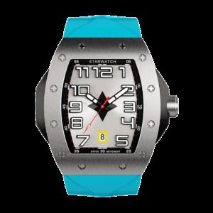 montre tonneau pour homme en acier avec bracelet bleu miami