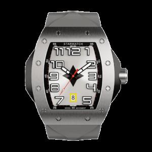 montre tonneau en acier avec bracelet de montre gris pour homme