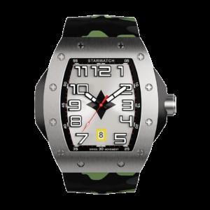 montre tonneau pour homme en acier avec bracelet de montre camouflage
