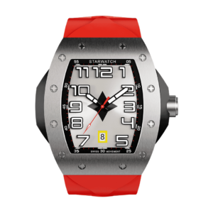 Montre en ciaer pour homme, montre tonneau avec bracelet de montre rouge
