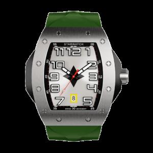 montre en acier, montre tonneau pour homme avec bracelet de montre kaki