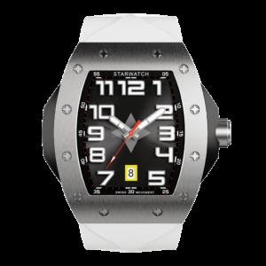 montre tonneau homme en acier avec bracelt de montre blanc