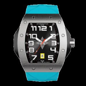 montre tonneau en acier pour homme avec bracelet de montre bleu miami