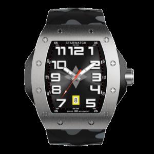 montre tonneau en acier pour homme avec bracelet de montre camouflage