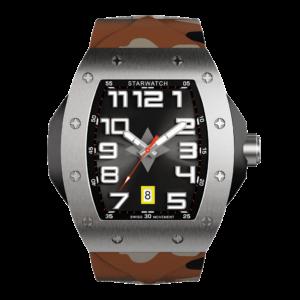 montre tonneau de luxe en acier pour homme avec bracelet camouflage