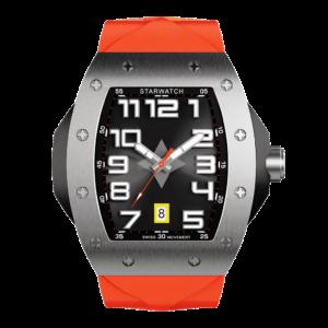 montre tonneau pour homme en acier avec bracelet orange