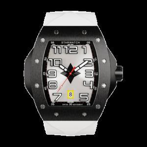 montre tonneau noire en acier pour homme avec bracelet de montre en caoutchouc blanc