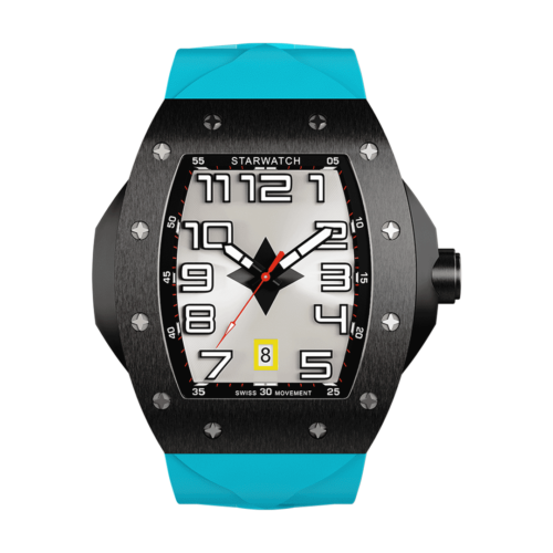 montre tonneau noire en acier pour homme avec bracelet de montre bleu miami