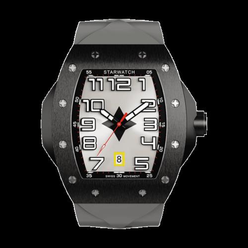 montre tonneau noire en acier pour homme avec bracelet de montre en caoutchouc gris
