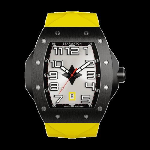 montre tonneau noire en acier pour homme avec bracelet de montre en caoutchouc jaune