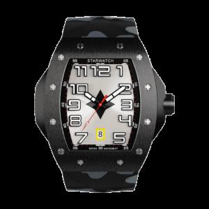 montre tonneau noire en acier pour homme avec bracelet de montre camouflage