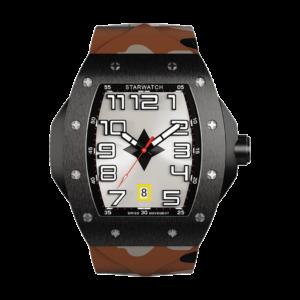montre tonneau noire en acier pour homme avec bracelet de montre en caoutchouc camouflage