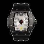montre tonneau noire en acier pour homme avec bracelet de montre en caoutchouc noire