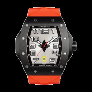 montre tonneau noire en acier pour homme avec bracelet de montre orange