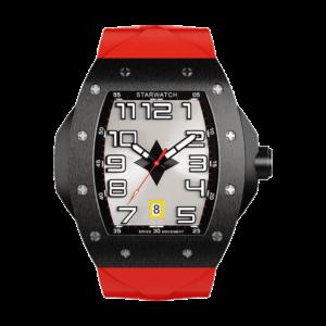 montre tonneau noire en acier pour homme avec bracelet de montre rouge