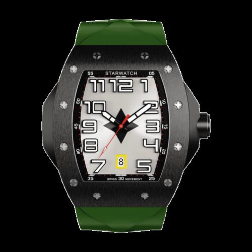 montre tonneau pour homme noire en acier avec bracelet de montre kaki