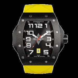 montre tonneau noire avec bracelet jaune pour homme