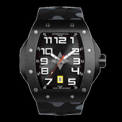 montre tonneau noire en acier pour homme avec bracelet de montre camouflage et fond noir