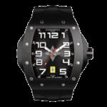 montre tonneau toute noire pour homme avec bracelet de montre noir