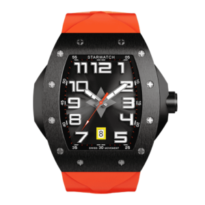montre tonneau noire en acier avec bracelet de montre en caoutchouc orange