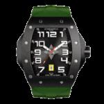 montre tonneau noire pour homme avec bracelet de montre kaki