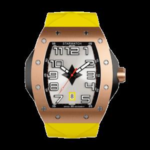 Montre tonneau pour homme en or avec bracelet de montre en caoutchouc jaune