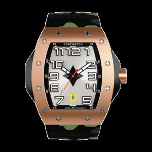 Montre tonneau or rose pour homme avec bracelet de montre camouflage