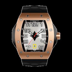 montre tonneau or rose en acier pour homme avec bracelet de montre noir