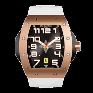 montre tonneau homme luxe or rose avec bracelet de montre blanc