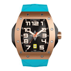 montre tonneau luxe or rose pour homme avec bracelet de montre bleu miami