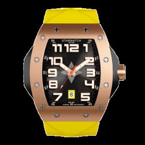 montre homme tonneau or rose avec bracelet jaune