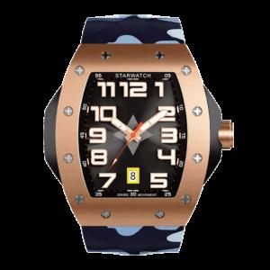 montre tonneau pour homme or rose avec bracelet de montre camouflage