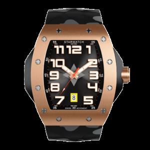 Montre tonneau or rose pour homme avec bracelet de montre camouflage noir