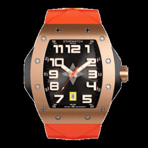 montre tonneau pour homme en or rose avec bracelet de montre orange