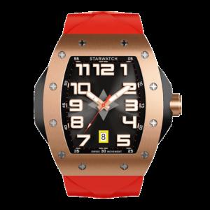 Montre homme tonneau en or ose avec bracelet de montre rouge