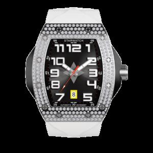montre tonneau diamant pour homme en acier avec bracelet blanc