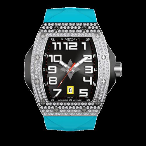 Montre tonneau diamant montre homme acier avec bracelet bleu miami