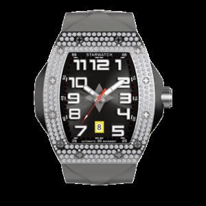 Montre tonneau avec diamants pour homme boitier acier et bracelet de montre gris