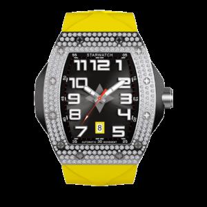 montre tonneau diamants homme avec bracelet jaune