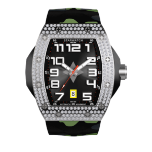 Montre diamants pour homme montre diamants avec bracelet de montre camouflage vert