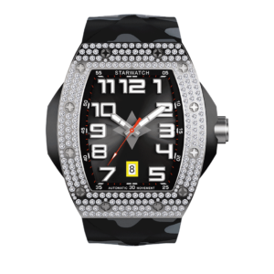 montre diamant montre tonneau homme avec bracelet camouflage noir
