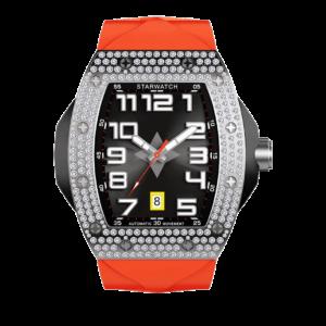 Montre tonneau diamants pour homme avec bracelet de montre orange