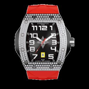 Montre tonneau pour homme avec diamants et bracelet de montre rouge