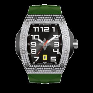 Montre tonneau homme avec diamants et bracelet de montre en caoutchouc kaki