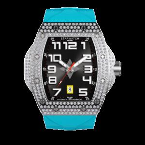 Montre diamant montre tonneau pour homme montre en acier avec bracelet bleu miami
