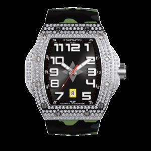 montre diamants montre tonneau montre homme bracelet camouflage vert
