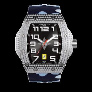 montre tonneau, montre diamants, montre homme, bracelet de montre camouflage mer
