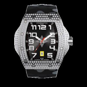 montre toonneau en acier avec diamants pour homme avec bracelet caoutchouc noir camouflage