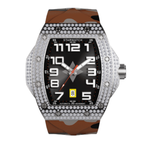 montre tooneau pour homme en diamants avec bracelet caoutchouc camouflage sable